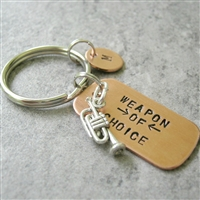 Trumpet Key chain, Weapon of Choice, copper dog tag with trumpet charm