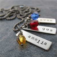 Personalized Bar Necklace with birthstone beads