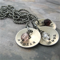 Personalized Mother's Necklace, nickel silver discs
