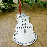Personalized Snowman Christmas Ornament 2015