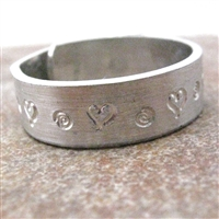 Heart Swirl Aluminum Cuff Ring, customization available