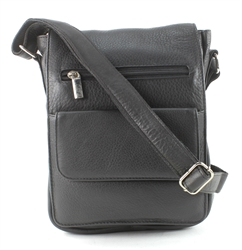 Leather Flap Over Cross Body Messenger Bag Bacci Style #10206 BLACK