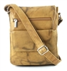 Leather Flap Over Cross Body Messenger Bag Bacci Style #10206 TAN
