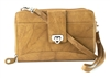 Leather Cross Body Zip Around Wallet w/Twist Closure & Wristlet Bacci Style #10207 TAN