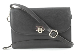 Leather Cross Body Accordion Wallet w/Twist Closure & Wristlet, Bacci Style #10208 BLACK