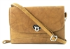 Leather Cross Body Accordion Wallet w/Twist Closure & Wristlet, Bacci Style #10208 TAN