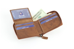 RFID Full Zip Around Top Flap Men's Wallet.  American Bison Product Code 15712 Tan