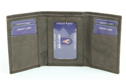 RFID Trifold w/Center I.D. Men's Wallet.  American Bison Product Code 15713 Brown