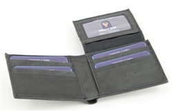 RFID Bifold w/Right Side Fold over I.D. Flap.  American Bison Product Code 15714 Black