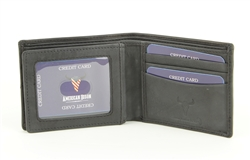 RFID Bifold w/Center I.D. Flap & Corner Contrast Notch.  American Bison Product Code 15715 Black