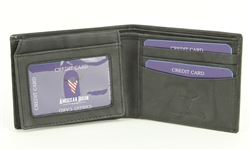 RFID Bifold w/Left I.D. Flap & Contrast Stitch Ends.  American Bison Product Code 15716 Black