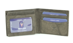 RFID Bifold w/Left I.D. Flap & Contrast Stitch Ends.  American Bison Product Code 15716 Brown