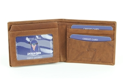 RFID Bifold w/Left I.D. Flap & Contrast Stitch Ends.  American Bison Product Code 15716 Tan