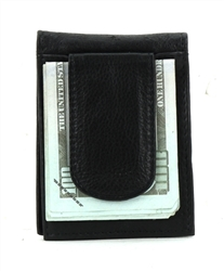Wallet With ID Window and Magnetic Money Clip Style :1616 BLACK