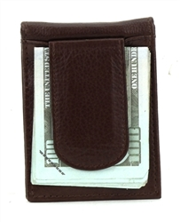 Wallet With ID Window and Magnetic Money Clip Style :1616 BROWN
