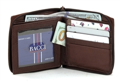 Zip Around Bi Fold Wallet Style : 1617 BROWN