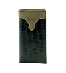 Tooled Gator Print Rodeo Wallet with Leather Inlay. American Bison Product Code 1720 Black