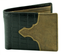 Tooled Gator Print Western Top Flap Bifold  Wallet with Leather Inlay. American Bison Product Code 1721 Black