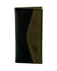 Pebble Grain Water Buffalo and Hunter Leather Inlay Rodeo Western Wallet. American Bison Product Code 1722 Black