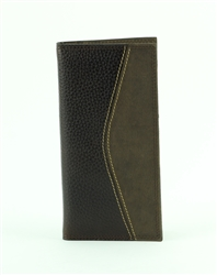 Pebble Grain Water Buffalo and Hunter Leather Inlay Rodeo Western Wallet. American Bison Product Code 1722 Brown
