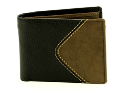 Pebble Grain Water Buffalo and Hunter Leather Inlay Bifold  Western Wallet. American Bison Product Code 1723 Black