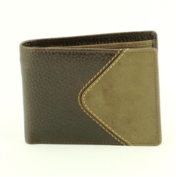 Pebble Grain Water Buffalo and Hunter Leather Inlay Bifold  Western Wallet. American Bison Product Code 1723 Brown