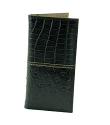 Gator and Ostrich Print Rodeo Western Wallet. American Bison Product Code 1724 Black