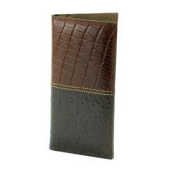 Gator and Ostrich Print Rodeo Western Wallet. American Bison Product Code 1724 Brown