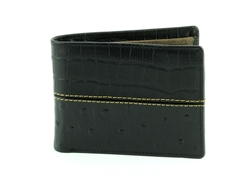 Gator and Ostrich Print Side Flap  Western Bifold Wallet. American Bison Product Code 1725 Black