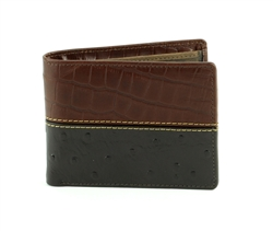 Gator and Ostrich Print Side Flap  Western Bifold Wallet. American Bison Product Code 1725 Brown