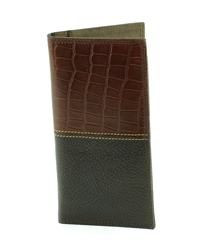 Gator Print and Pebbled Grain Water Buffalo Western Rodeo Wallet. American Bison Product Code 1726 Brown