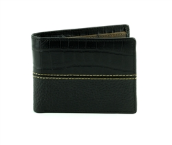 Gator Print and Pebbled Grain Water Buffalo Western Side Flap Bifold Water  Wallet. American Bison Product Code 1727 Black