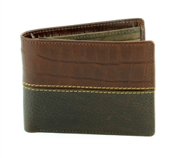 Gator Print and Pebbled Grain Water Buffalo Western Side Flap Bifold Water  Wallet. American Bison Product Code 1727 Brown