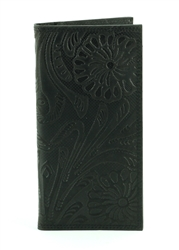 Tooled Floral Pattern Western Rodeo Wallet. American Bison Product Code 1728 Black