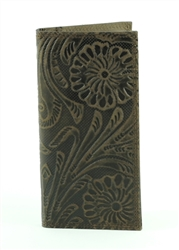 Tooled Floral Pattern Western Rodeo Wallet. American Bison Product Code 1728 Brown