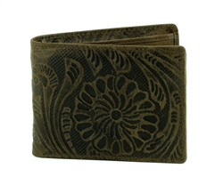 Tooled Floral Pattern Western Rodeo Wallet. American Bison Product Code 1729 Brown