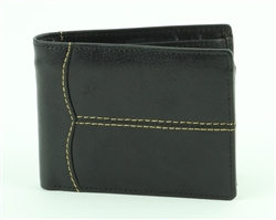Water Buffalo Contrast Stitch Rodeo Wallet. American Bison Product Code 1731 Black