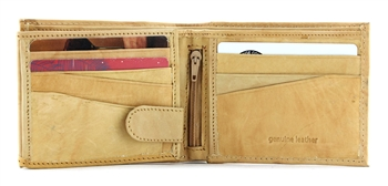 Bi Fold Wallet with Zipper Inside Style : 17609