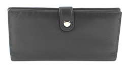 Double zippered Wristlet whit snap closure Style #1913 BLACK