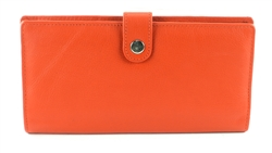 Double zippered Wristlet whit snap closure Style #1913 ORANGE