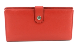 Double zippered Wristlet whit snap closure Style #1913 RED