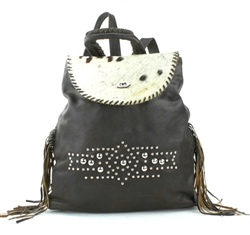 Brown Hair on Hide Leather Backpack