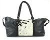 Large Black Hair On Hide Leather Duffle Bag