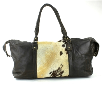 Large Brown Hair On Hide Leather Duffle Bag