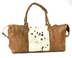 Large Rust Hair On Hide Leather Duffle Bag