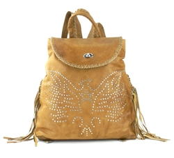 Rust Cowhide Leather Backpack