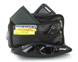 Leather Organizer Fanny Pack, Style: 299-BLK