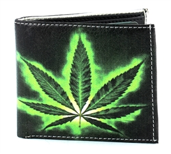 Marijuana Leaf Bi-Fold Wallet Vegan Leather VL-508
