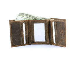 RFID Hunter Leather Tri-Fold Wallet w/Center I.D. Window, Style: 8010 Brown