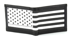 RFID Leather Bifold Wallet With American Flag Print And Flap Over ID Window